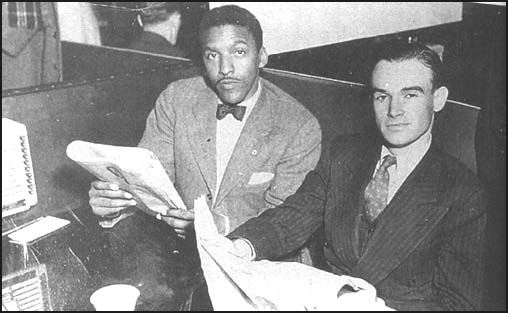Bayard Rustin and George Houser in a sit-in protest against segregated restaurants in Toledo, Ohio (from the Congress for Racial Equality website).
